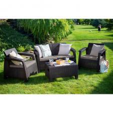 Комплект мебели с диваном Yalta M6142 Brown (имитациия ротанга)