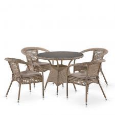 Комплект мебели из иск. ротанга T220CT/Y32-W56 Light brown (4+1)