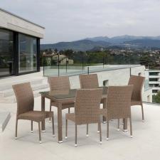 Комплект мебели из иск. ротанга T256B/Y380B-W56 Light Brown (6+1